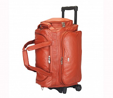 T27-Matteo-Travel soft duffle cabin luggage strolley in Genuine Leather - Tan