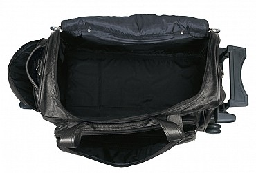 T27-Matteo-Travel soft duffle cabin luggage strolley in Genuine Leather - Black