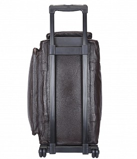 T27-Matteo-Travel soft duffle cabin luggage strolley in Genuine Leather - Brown