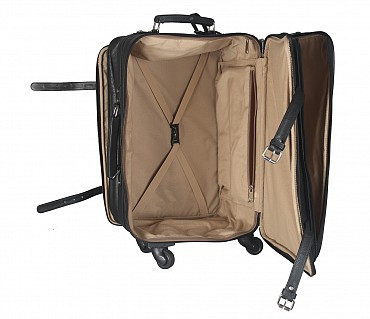 T35-Jiacobbe -Travel multi compartment cabin luggage strolley in Genuine Leather - Black