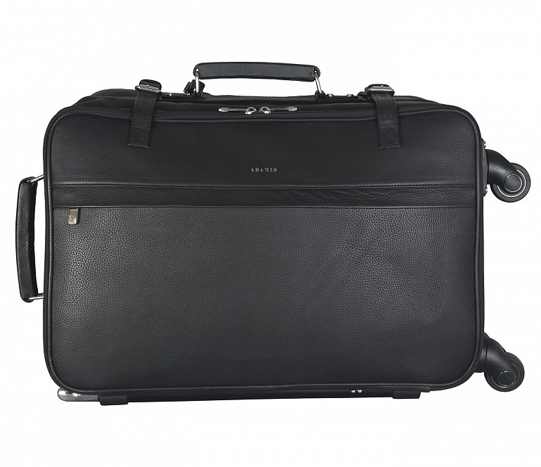 T35-Jiacobbe-Travel multi compartment cabin luggage strolley in Genuine Leather - Black