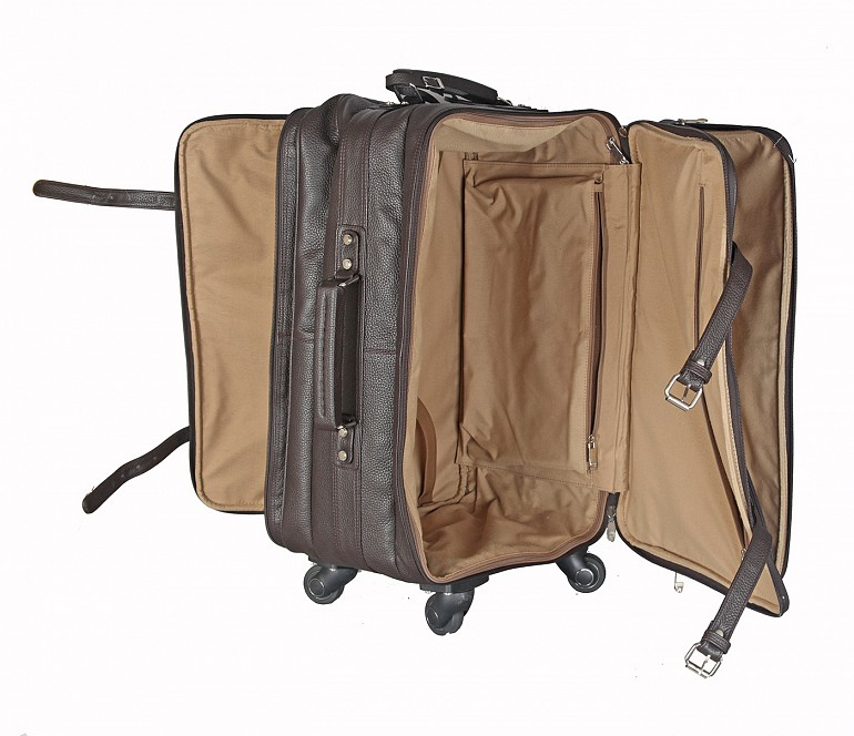 T35-Jiacobbe -Travel multi compartment cabin luggage strolley in Genuine Leather - Brown