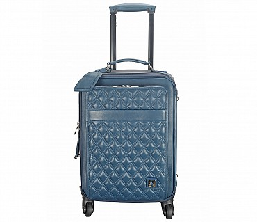 T53-Filippo-Travel cabin luggage strolley in Genuine Leather - Blue