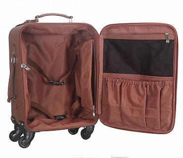 T53-Filippo-Travel cabin luggage strolley in Genuine Leather - Tan