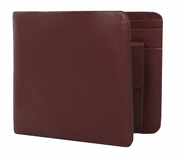 VW1-Ashton-Men's bifold wallet with coin pocket in Genuine Leather - Wine