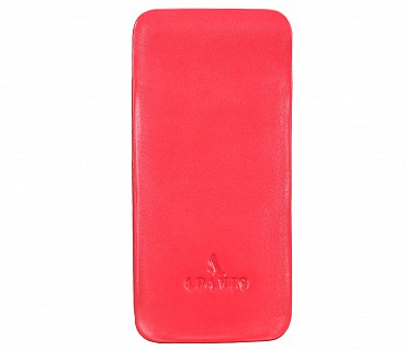 VW11--Soft stitch free spectacle case in Genuine Leather - Red