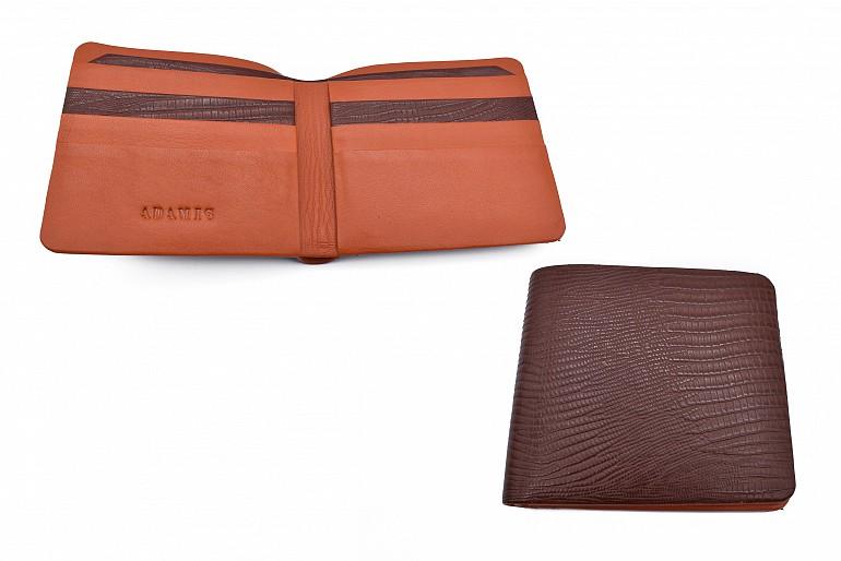 VW19-Manuel-Men's bifold wallet in genuine leather - Brown.