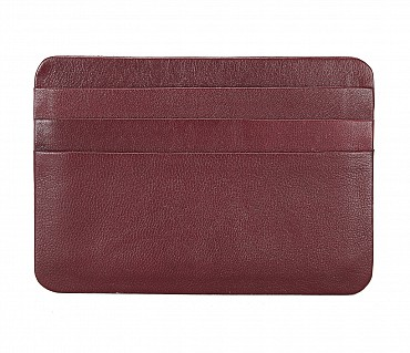 VW8--Ultra Slim card Case in Genuine Leather - Wine