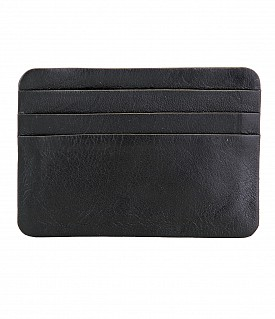 VW8--Ultra Slim card Case in Genuine Leather - Black