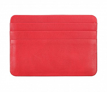 VW8--Ultra Slim card Case in Genuine Leather - Red