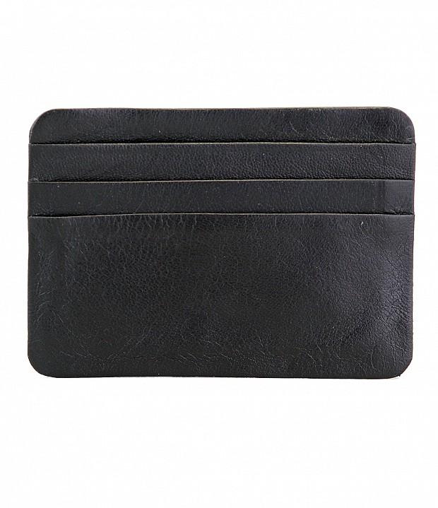 VW8--Ultra Slim card Case in Genuine Leather - Black