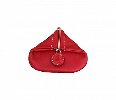 W100--Triangular shape mini coin purse in Genuine Leather - Gold