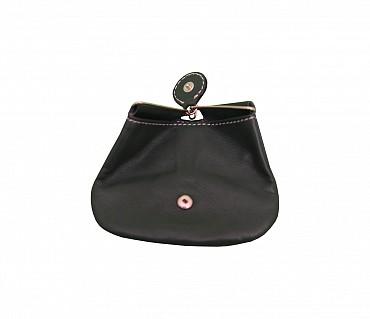 W100--Triangular shape mini coin purse in Genuine Leather - Black