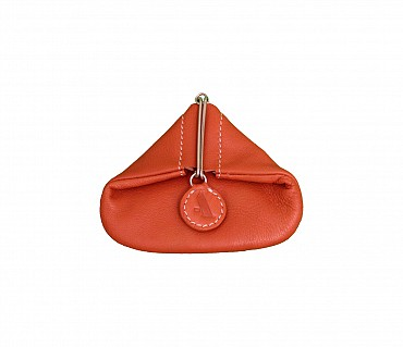 W100--Triangular shape mini coin purse in Genuine Leather - Tan