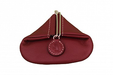 W100--Triangular shape mini coin purse in Genuine Leather - Wine