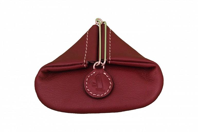 W100--Triangular shape mini coin purse in Genuine Leather - Wine