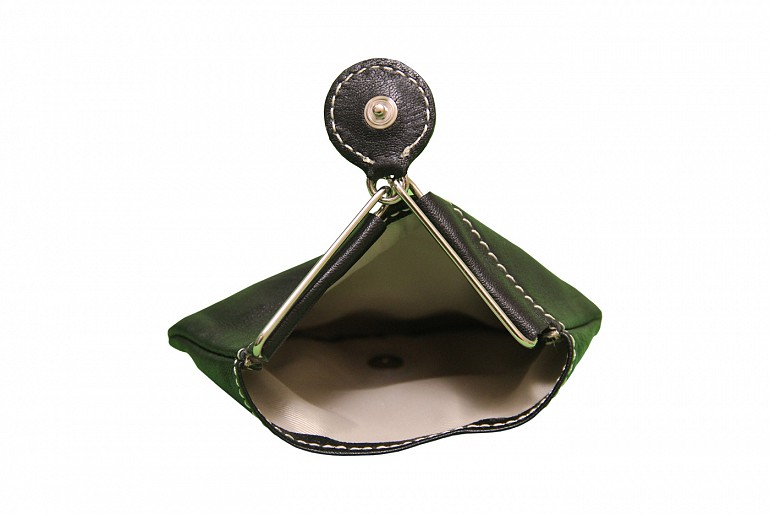 W100--Triangular shape mini coin purse in Genuine Leather - Black