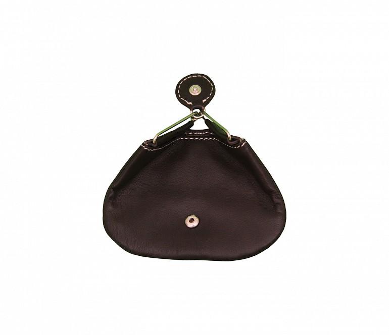 W100--Triangular shape mini coin purse in Genuine Leather - Brown