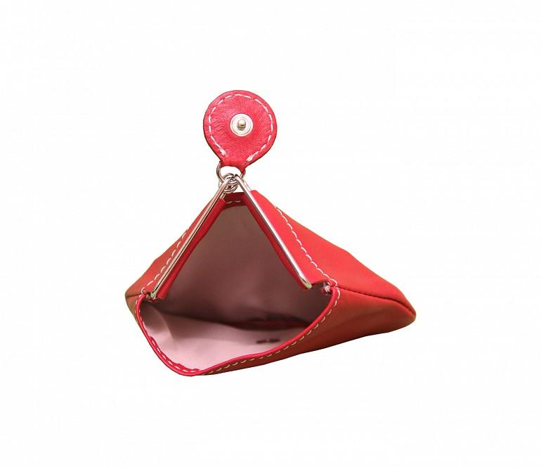W100--Triangular shape mini coin purse in Genuine Leather - Red