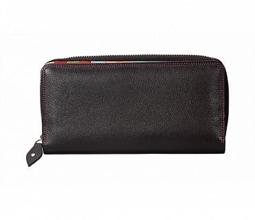 W166-Lillian-Womens's bifold multi coloured wallet in Genuine Leather - Black