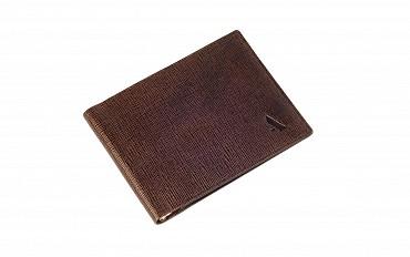 W205-Giorgio-Men's money clip cum card case wallet in Genuine Leather - Brown