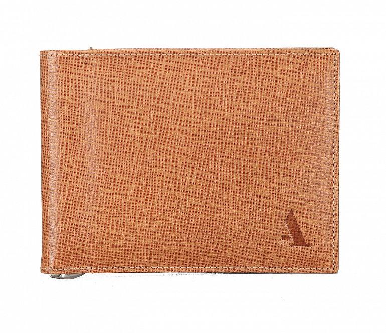 W205-Giorgio-Men's money clip cum card case wallet in Genuine Leather - Tan