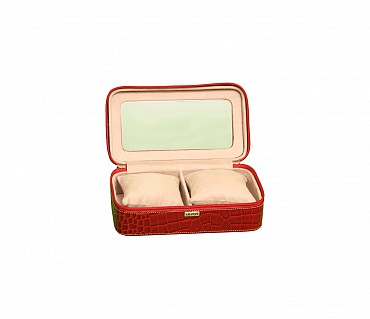 W210--Watch case to hold 2 watches in Genuine Leather - Red
