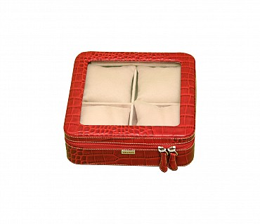 W211--Watch case to hold 4 watches in Genuine Leather - Red