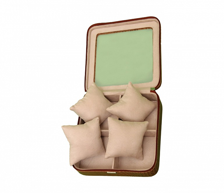 W211--Watch case to hold 4 watches in Genuine Leather - Tan