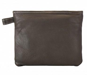 W227--Unisex multi purpose pouch in Genuine Leather - Green
