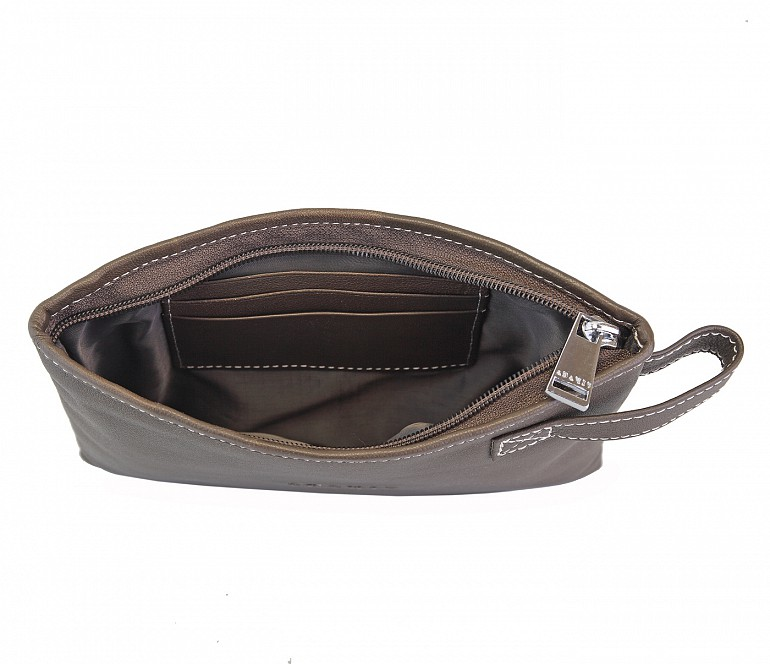 W227--Unisex multi purpose pouch in Genuine Leather - Brown.