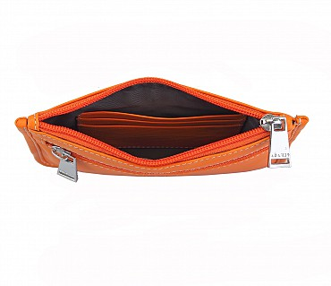 W228--Unisex multi purpose pouch in Genuine Leather - Orange