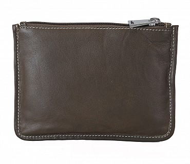 W228--Unisex multi purpose pouch in Genuine Leather - Green