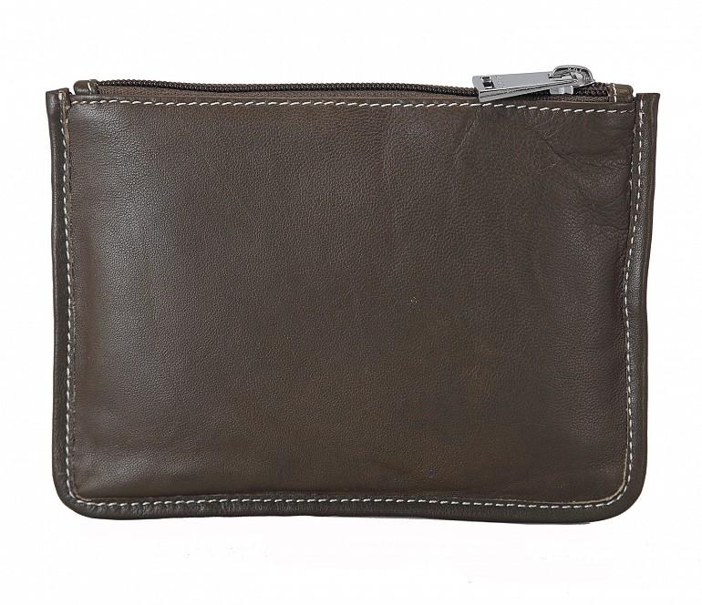 W228--Unisex multi purpose pouch in Genuine Leather - Brown.