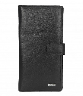 W247-Cynthia-Unisex wallet for travel documents in Genuine Leather - Black