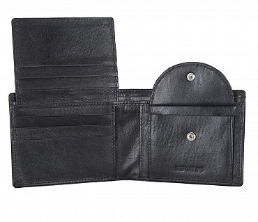 W256-Hudson-Men's bifold wallet with coin pocket in Genuine Leather - Black