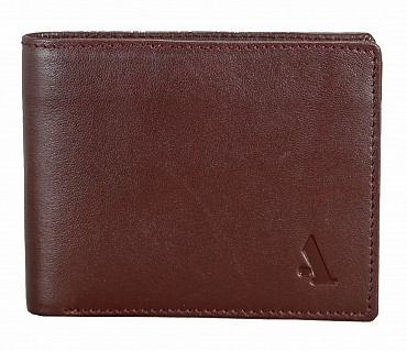 W256-Hudson-Men's bifold wallet with coin pocket in Genuine Leather - Brown.