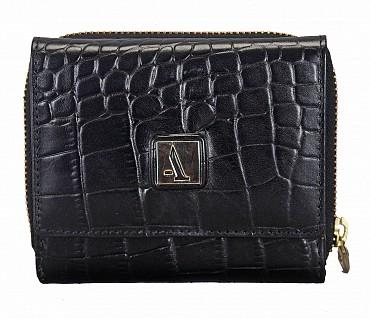 W267-Evelyn-Women's trifold wallet in Genuine Leather - Black