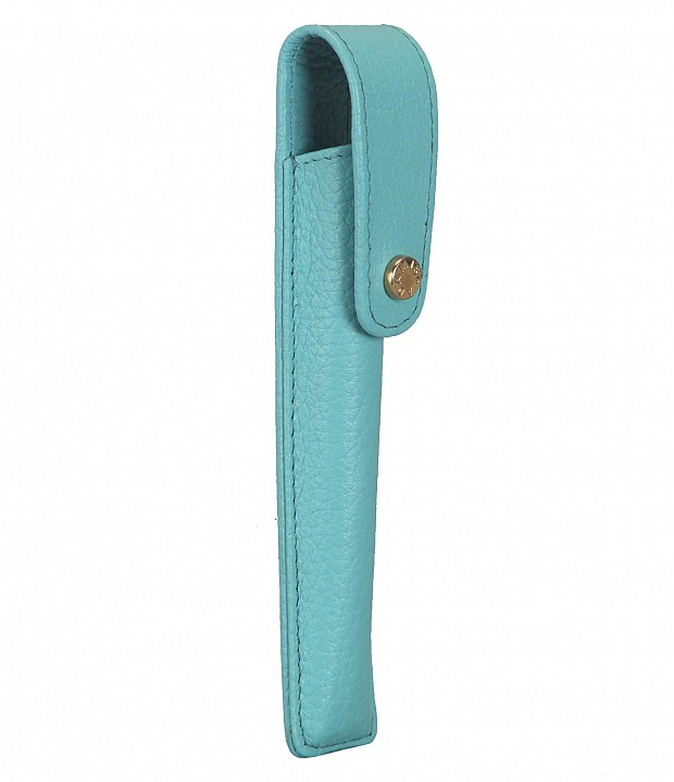 W268--Pen case to carry single pen in Genuine Leather - Seagreen