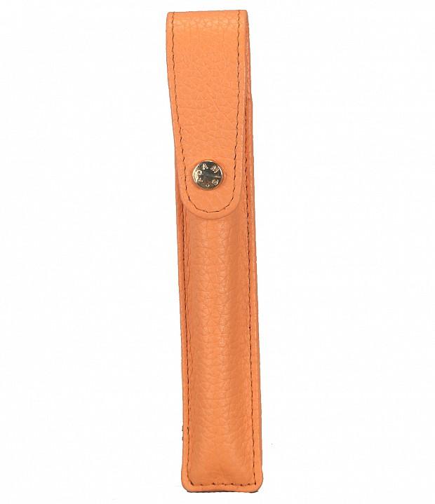 W268--Pen case to carry single pen in Genuine Leather - Peach