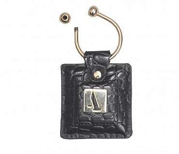 W269--Key holder with knob screw key fitting in Genuine Leather - Black