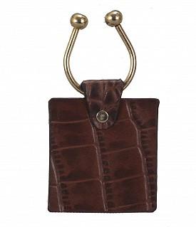 W269--Key holder with knob screw key fitting in Genuine Leather - Brown.