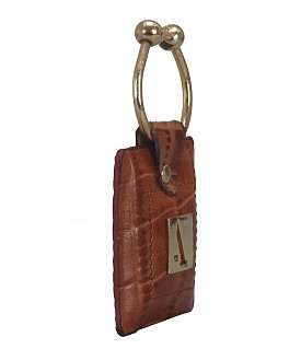 W269--Key holder with knob screw key fitting in Genuine Leather - Tan