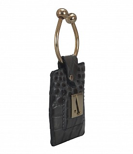 W269--Key holder with knob screw key fitting in Genuine Leather - Grey
