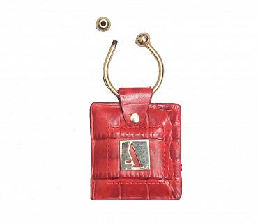 W269--Key holder with knob screw key fitting in Genuine Leather - Red
