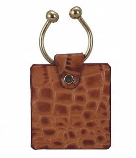W269--Key holder with knob screw key fitting in Genuine Leather - Tan