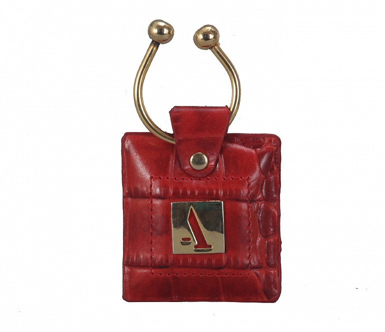 W269--Key holder with knob screw key fitting in Genuine Leather - Red