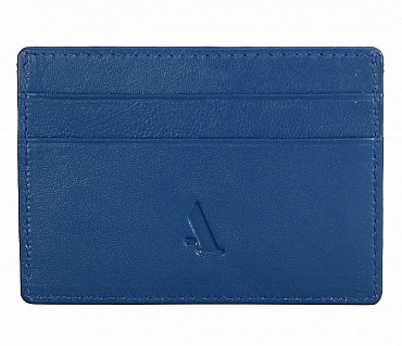 W271--Credit card holder with transparent slot in Genuine leather - Blue