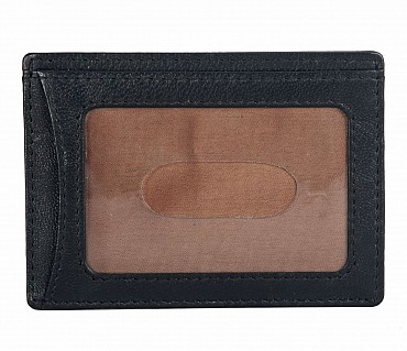 W271--Credit card holder with transparent slot in Genuine leather - Black