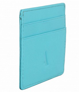 W271--Credit card holder with transparent slot in Genuine leather - Turquoise